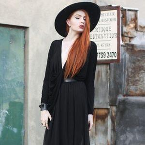 american apparel black wool hat floppy large brim OS